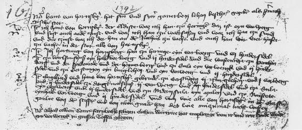 Bild 1: Fuldaer Kopiar von 1397, HstAM, K 433, S.43, Ausschnitt [8]