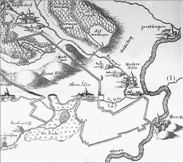 Bild 2: Schleensteinkarte (Ausschnitt) 1705/1710 (1) = rechte Suhl, (2) = linke Suhl
