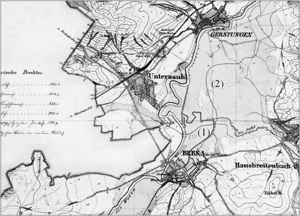 Bild 4: Feldoriginal der preußischen Landesaufnahme 1857, Ausschnitt, (1) kleine Werra, (2) Graben