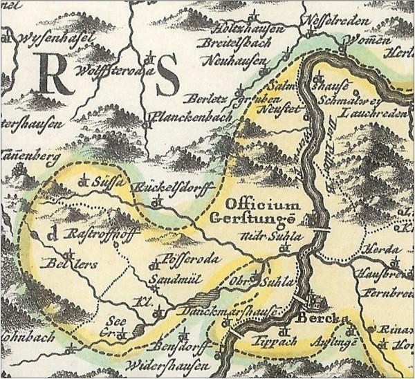 Bild 3: Amt Gerstungen, 1715, Ausschnitt aus [2]
