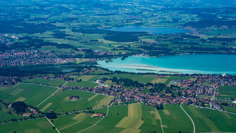 Allgäu, bei Füssen, Blick vom Tegelberg auf den Forggensee