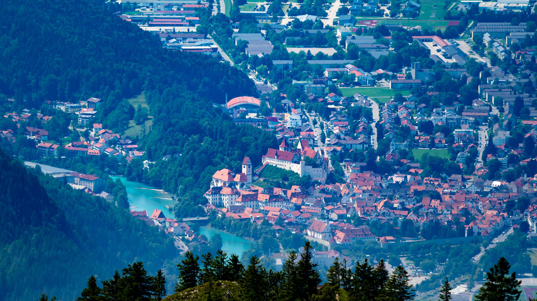 Allgäu, bei Füssen, Blick vom Tegelberg auf Füssen