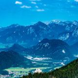 Allgäu, bei Füssen, Blick von der Hochalp Richtung Tegelberg und Schloss Neuschwanstein