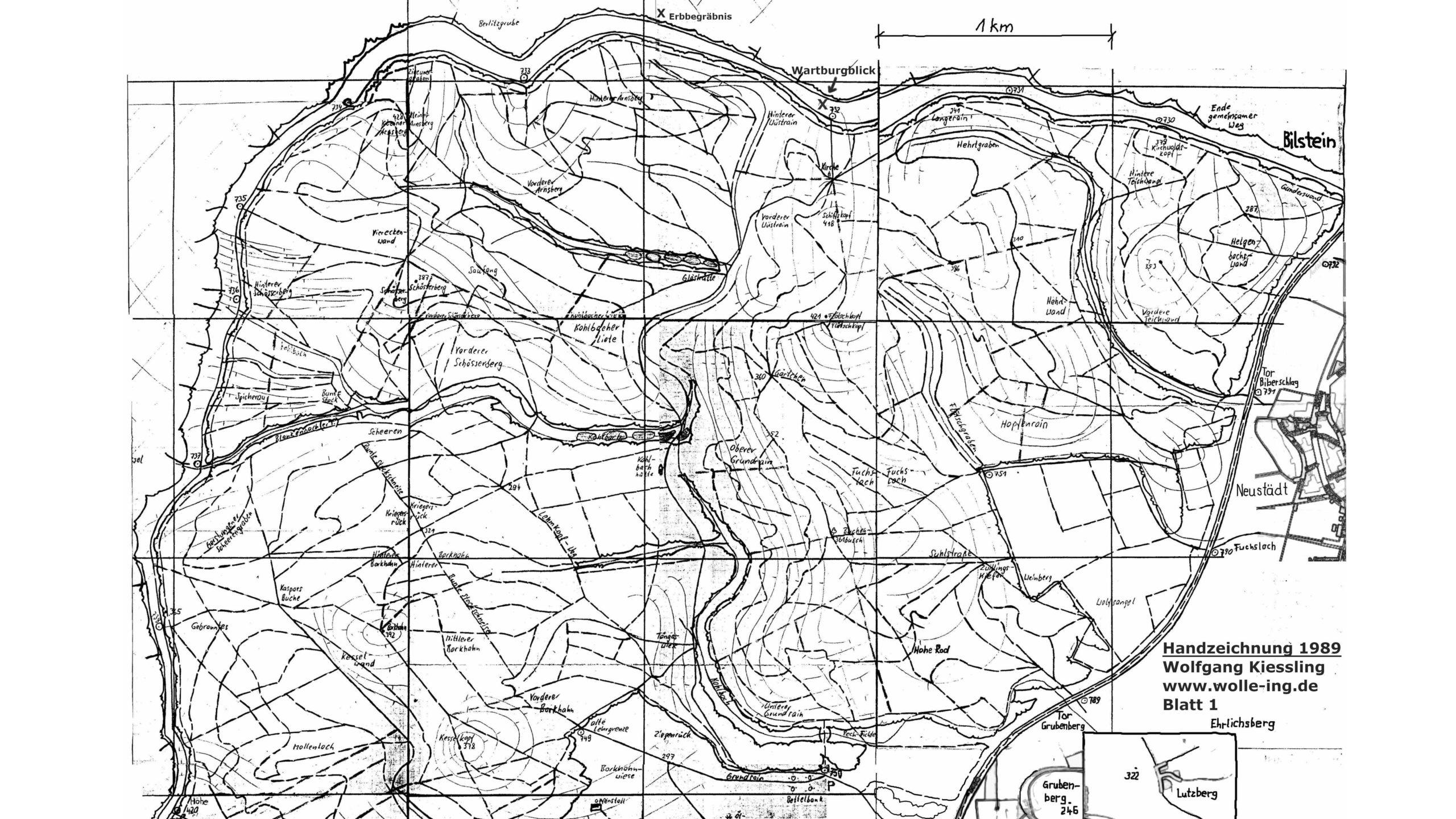 Grenzweg Gerstunger Forst, Karte Gerstunger Forst Blatt 1 (Handzeichnung)