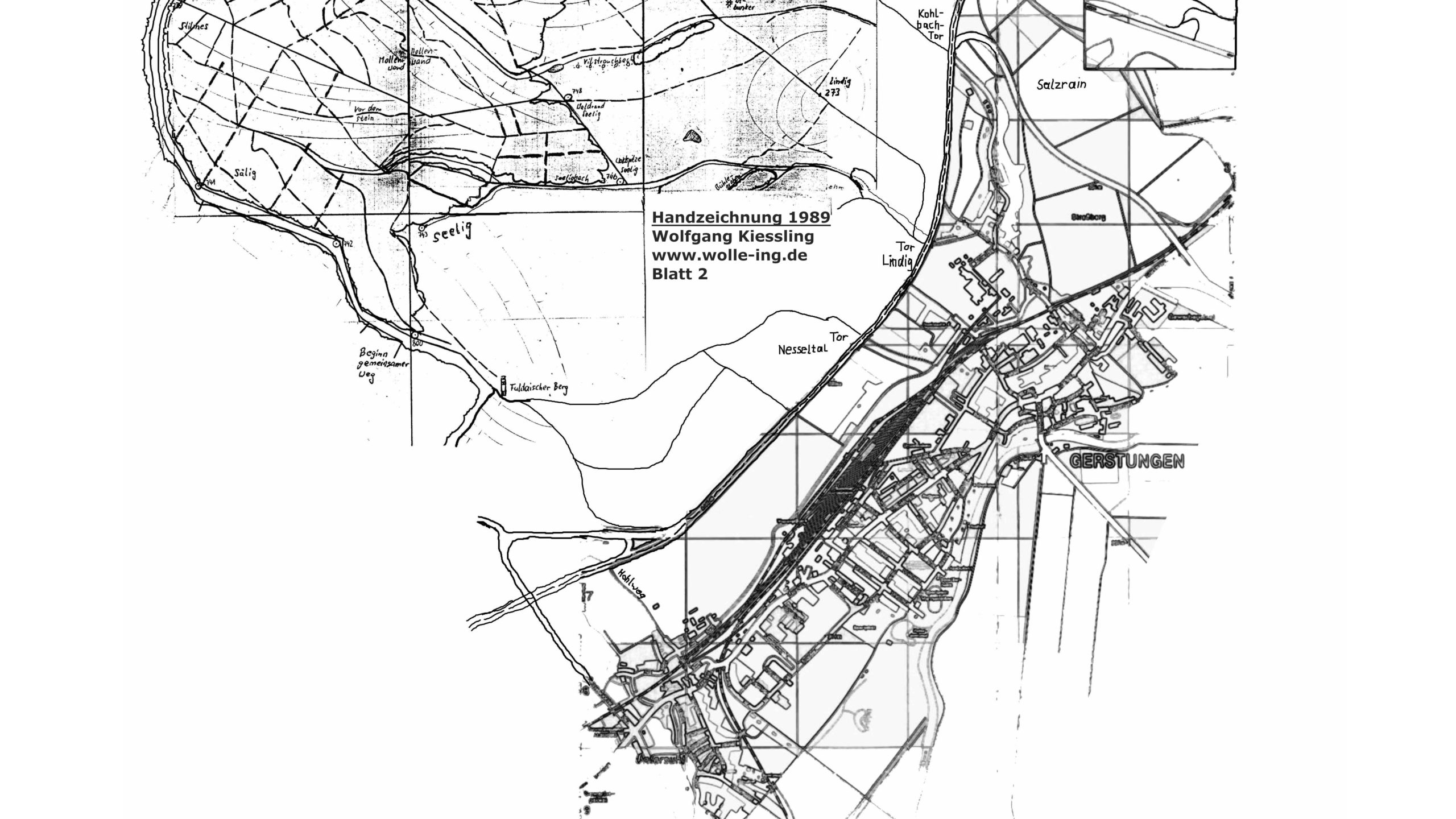 Grenzweg Gerstunger Forst, Karte Gerstunger Forst Blatt 2 (Handzeichnung)