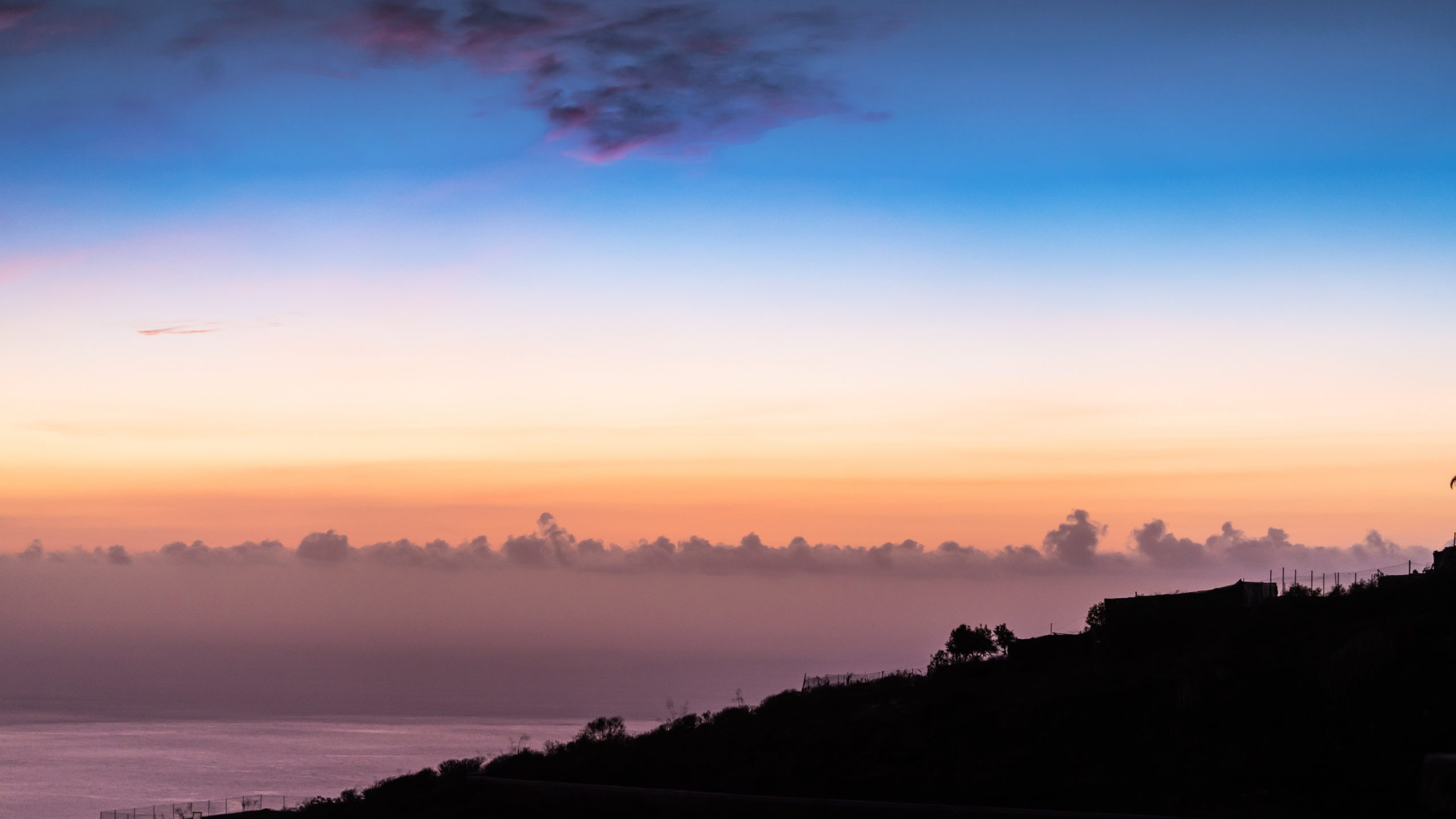 Atlantik, Teneriffa, Finca bei Los Gigantes, Blick Richtung Atlantik am Abend