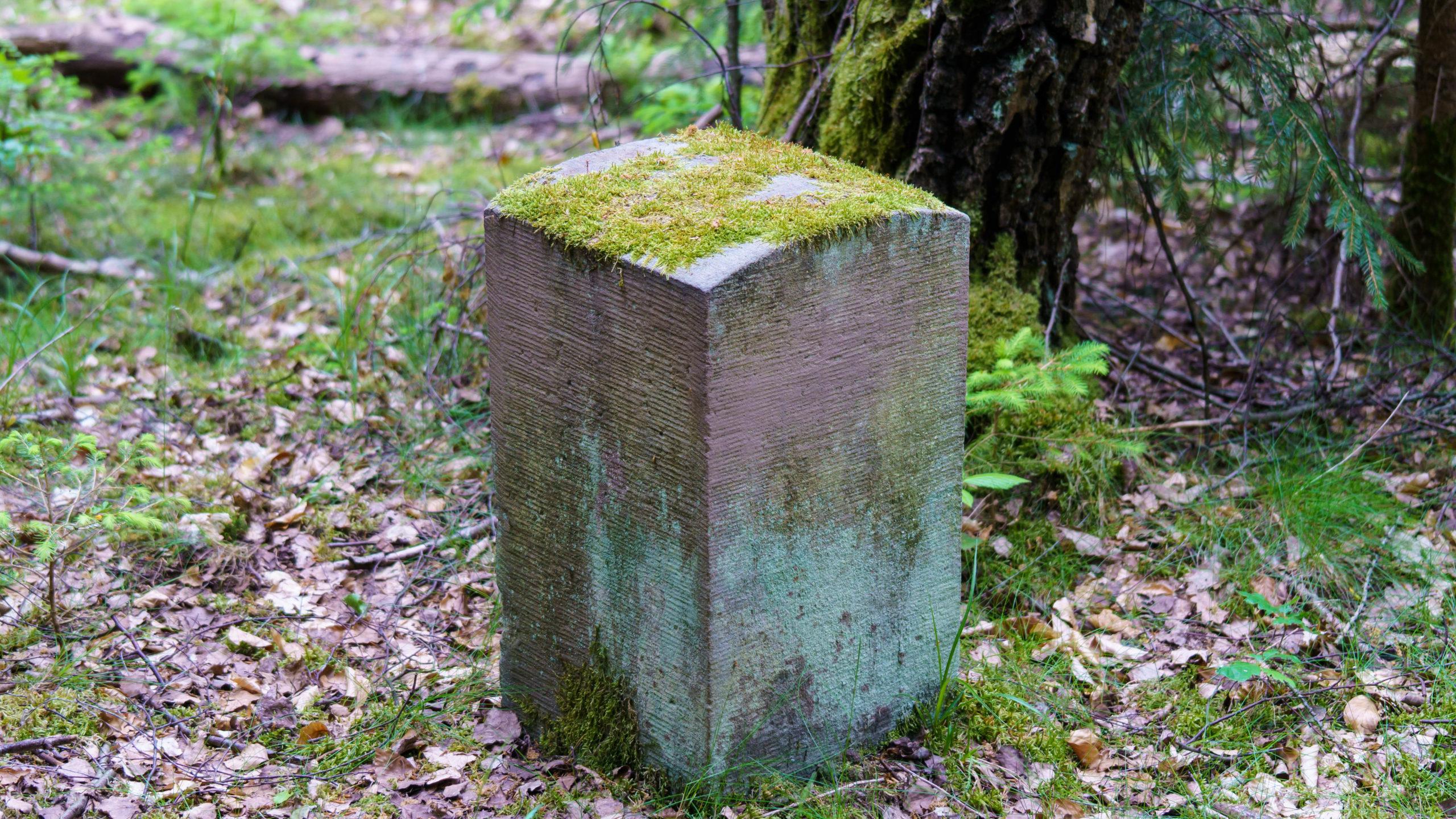 Grenzweg Gerstunger Forst, neuerer (seltener in Bauform) Grenzstein auf dem gemeinsamen Weg