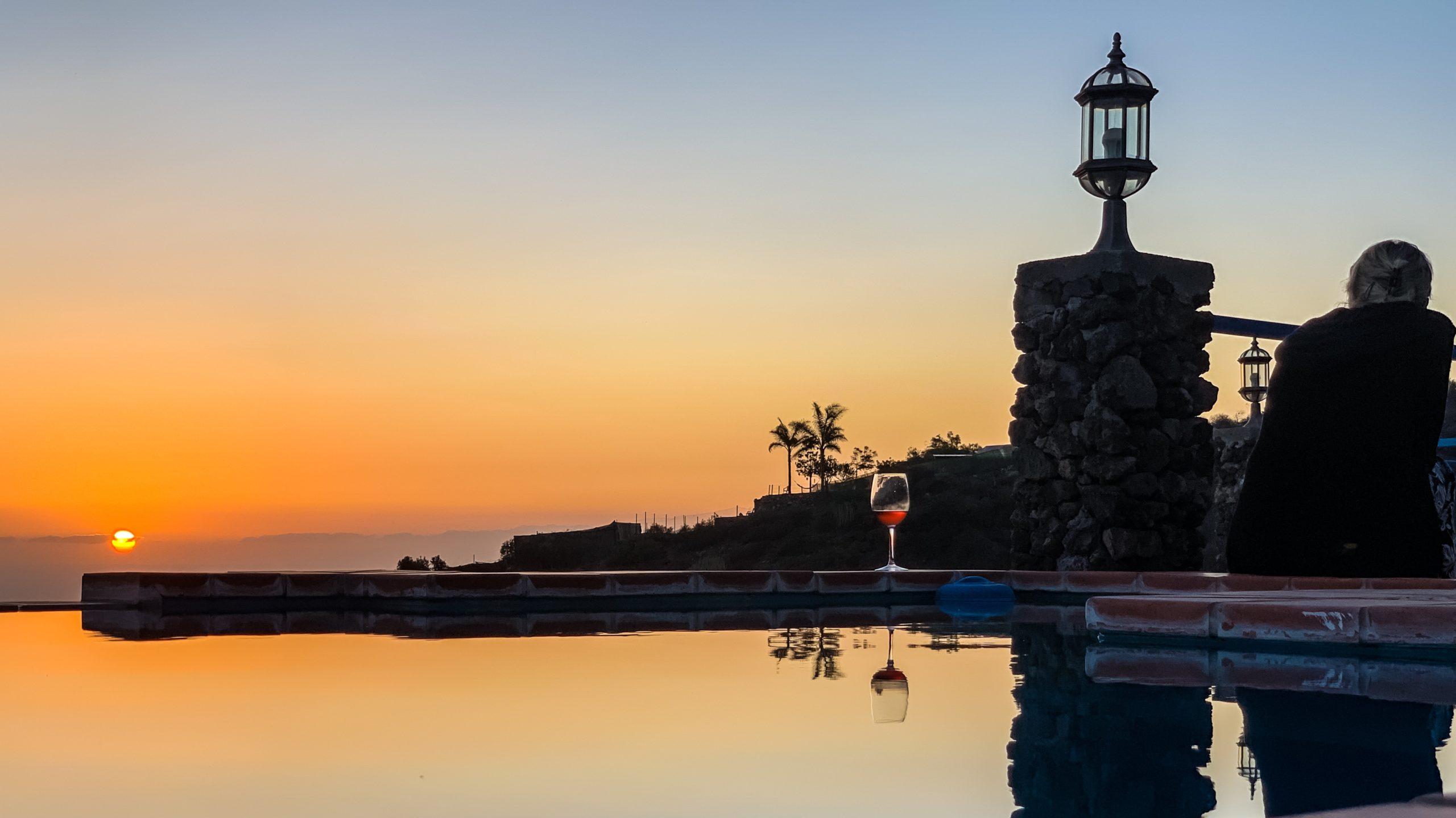 Atlantik, Teneriffa, Finca bei Los Gigantes, Blick Richtung Insel La Gomera und La Palma