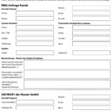 RMA-Anfrage (Beispielformular)
