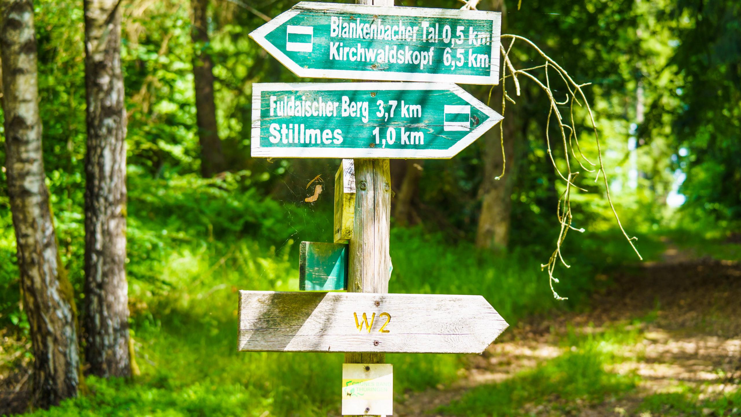 Grenzweg Gerstunger Forst, Wegweiser nahe Blankenbacher Tal