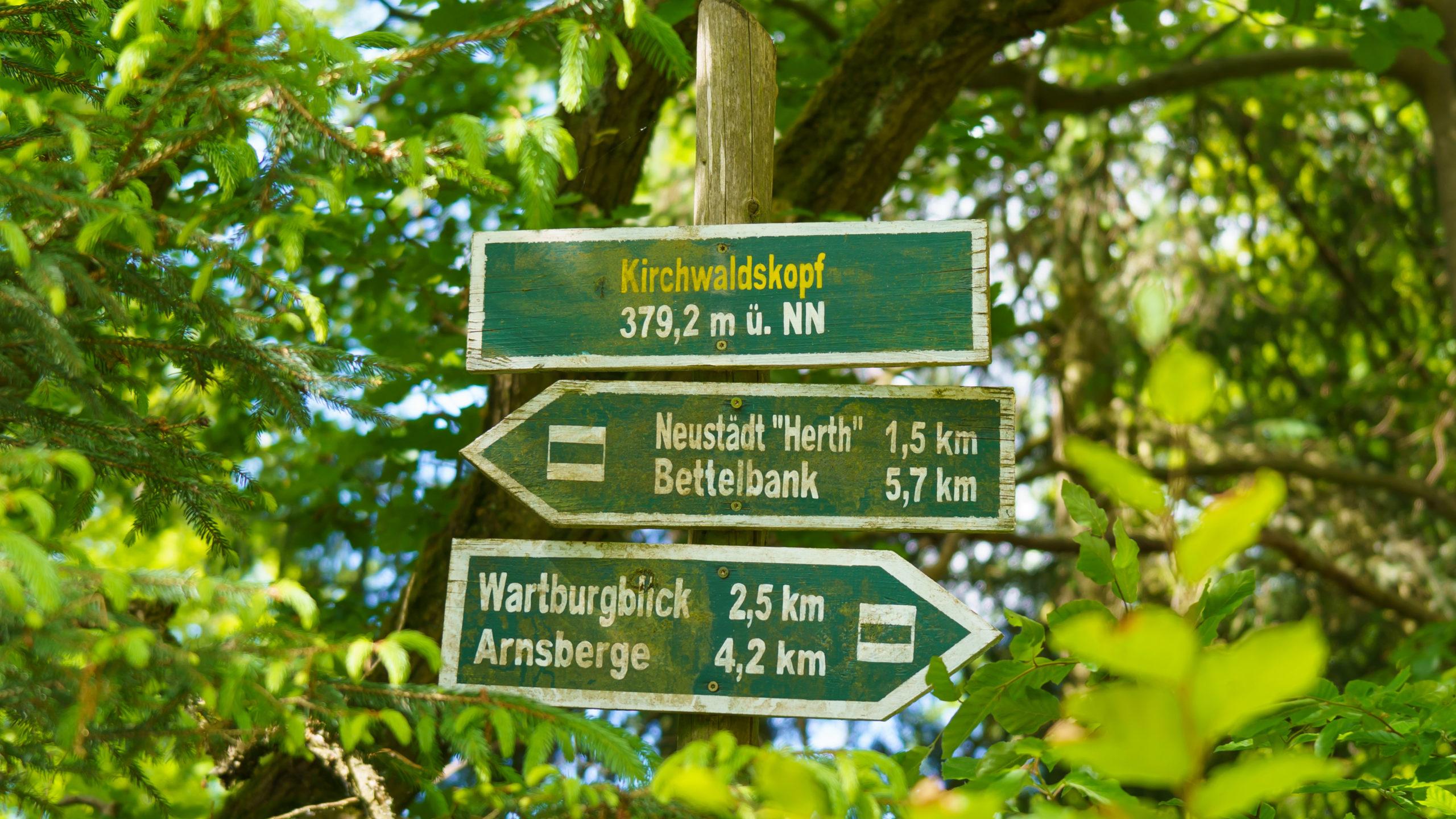Grenzweg Gerstunger Forst, Wegweiser am Kirchwaldskopf