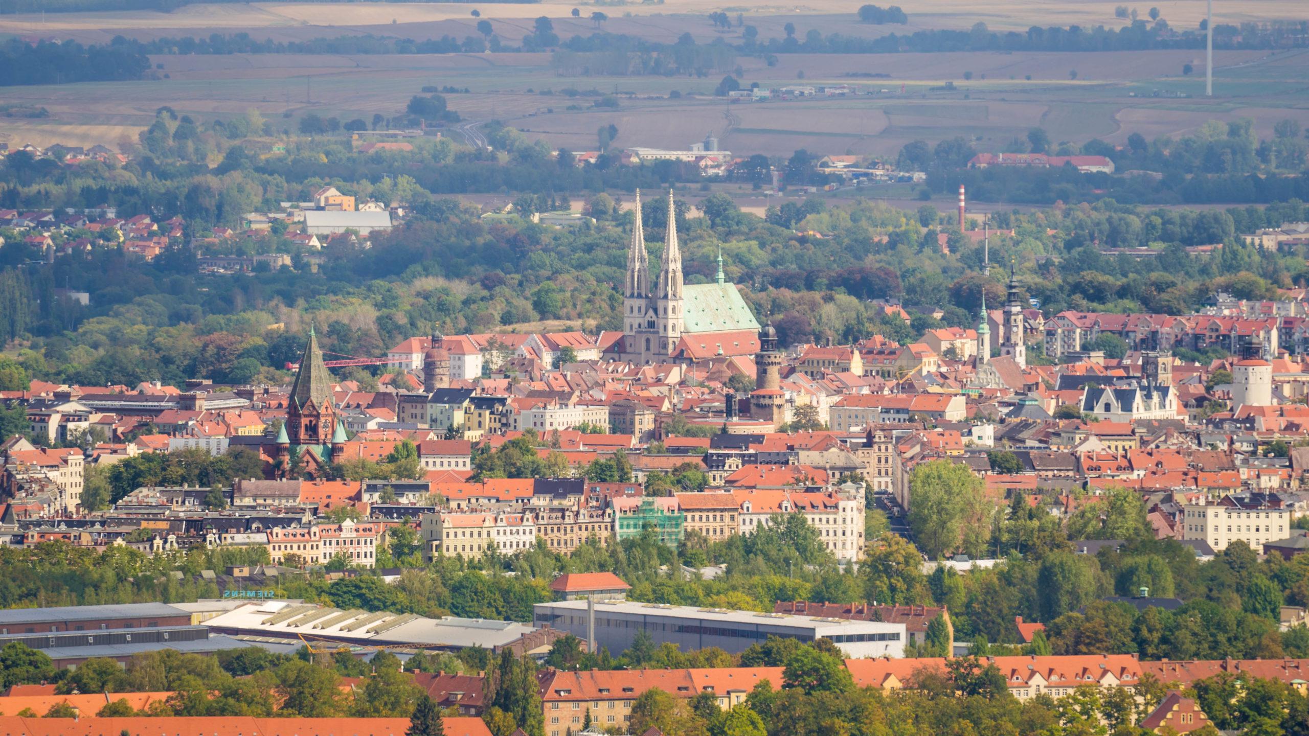 Görlitz, Stadtzentrum, Blick von der Landeskrone